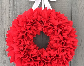 Valentine's Day Wreath - Felt Wreath - Rag Wreath - Large Wreath - Valentine Wreath - Red Wreath - Winter Wreath - Bright Wreath