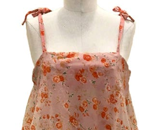 Vintage C.1975 / Handmade / 3 Layer / Floral Dress / Size S