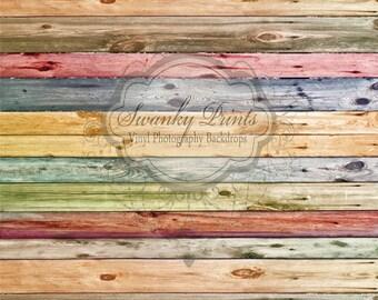NEW ITEM 8ft x 10ft Vinyl Photography Backdrop  / Painted Rainbow Wood
