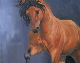 Original oil painting horse art equine art painting energy and movement horse painting on canvas 'Golden I' by H Irvine