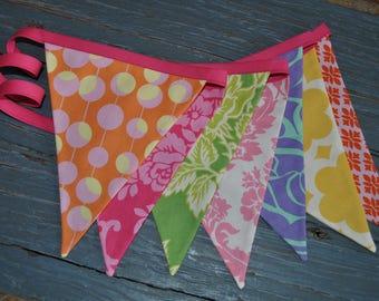 Girls' bright fabric pennant banner bunting, rainbow colored birthday tea garden party decoration, room decor, designer fabrics, photo prop