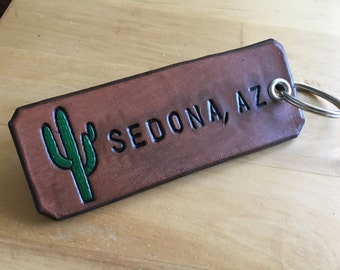 Keychain Leather Keychain Sedona, AZ Cactus Keychain Southwest Western City and State Keychain Personalized - Love That Leather