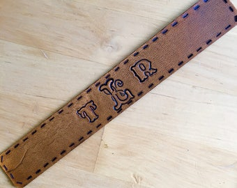 Leather Bookmark Western Monogram Bookmark with Faux Stitching Initials Love That Leather