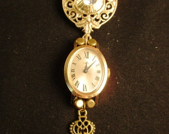 Gold Watch Necklace/Pin