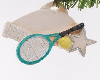 Personalized Christmas Ornament tennis player or coach ornament personalized with your choice of name free handmade in the USA (260)