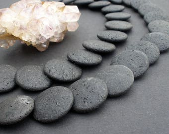 "1 - 4 Strands Natural Black Lava 25mm Overlapped Disc - Full 15 3/4"" Strand - Liquidation / Close Out Prices"