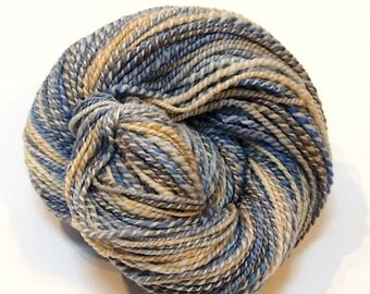 Sport weight Handspun yarn - Merino Wool and Silk - 208 yards of handspun 2-ply yarn