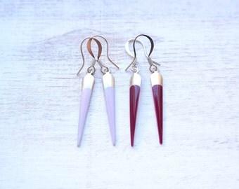 Silver Spike Earrings - Purple Shades