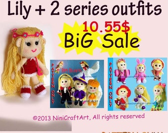 BiG Sale Lily and 2 series outfits S23: Changeable Clothes Crochet Doll and 14 styles Outfits Pattern ( PDF only )