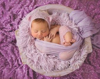 Hyacinth LILAC purple Carved wood Newborn Photography DEEP bowl, Primitive look natural wood dough bowl with handles, newborn posing prop