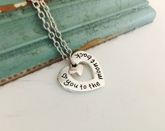 I love you to the moon and back necklace, heart necklace, valentine gift for her, gift for daughter