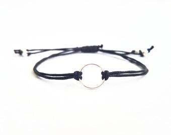 Sterling Silver Cord Bracelet, Black Eternity Bracelet, String Friendship Bracelet, Stocking Stuffer