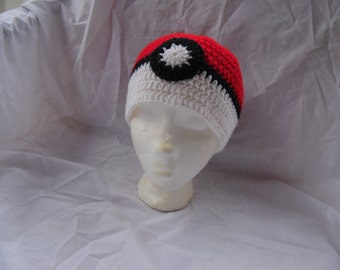 Pokeball Hat - Crochet Hat - Gifts for Teens - Pokemon Hat - READY TO SHIP