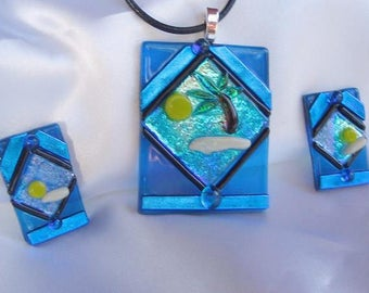 ISLAND BLUES dichroic fused glass jewelry pendant necklace set with earrings