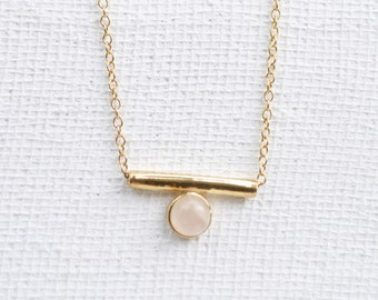 NEW Bar - Rose Quartz Necklace, Bridesmaids Gift, Gifts for Her