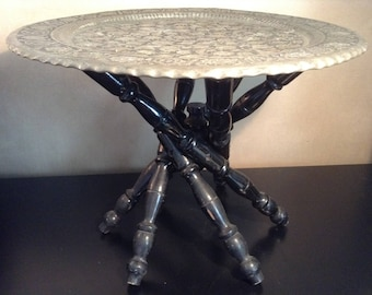 Vintage etched tinned copper tray table with collapsible base from India
