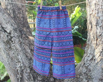 Boho Childrens Pants / Periwinkle Blue Boys Or Girls Trousers In Hmong Cotton Batik, Hippie Kids - Cameron Free Shipping