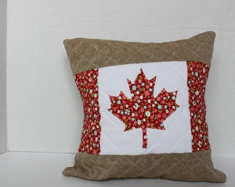 Canada Day Decor - Quilted Throw Pillow - Canada Day Pillow - Canadian Flag Pillow Cover - Canada Pillow - Canada 150 - Maple Leaf Pillow