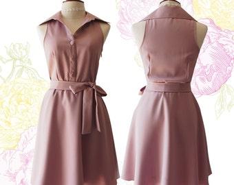 DOWNTOWN Nude Pink Shirt Dress Nude Sundress Vintage Modern Dress Gift for Women Sleeveless Summer Dress Bridesmaid Dress Casual Dress