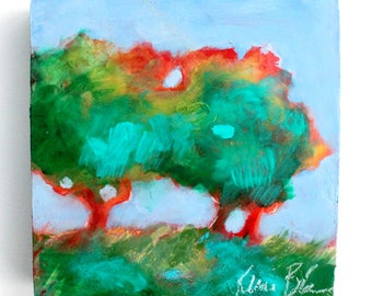 "Small Abstract Tree Painting, Modern Impressionism, Colorful, Loose ""Tree Study"" 6x6"""