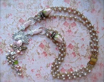 Romantic Roses, Lamp Worked Roses,Vintage Rosary Chain,Chippy Shabby Chic,Floral Tassel,Tassel Necklace,Rose Beads,Faux Pearls,BSue by 1928
