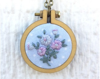 Purple Floral Necklace, Purple and Lilac Flower Embroidery Pendant, 2 inch hoop, Blue Fabric with Dots, Ready to Ship