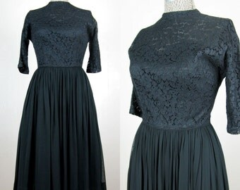 Vintage 1950s Black Lace and Chiffon Dress 50's Cocktail Dress Size 8M