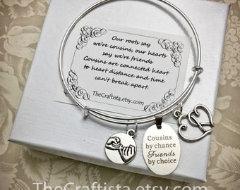 Cousin Bangle -C11B- Cousin Gift, Cousin Bracelet, Cousin Jewelry, Gifts for Cousins, Pinky Promise Charm, Cousin Pendants, Cousin Charms