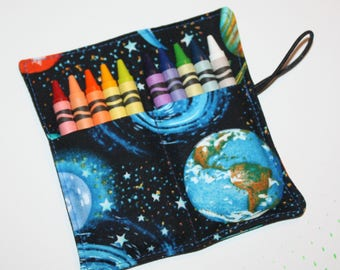 CUSTOM Crayon Rolls Space Crayon holds 10 Crayons Birthday Party Favors, Planets fabric crayon rolls