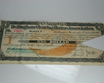 Antique Bellingham Clearing House Association Panic Scrip Note