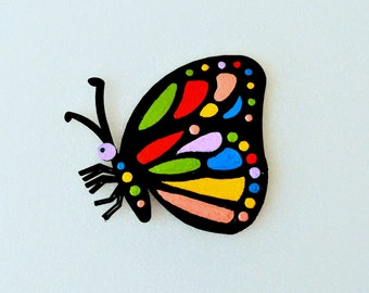 Magnets - Wall Art - Hand Oil Painted And 3D Print - Include 2 small pieces of Mount Tape As Alternative - Item Butterfly C
