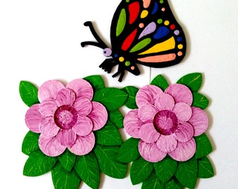 Magnets - Wall Art - Hand Oil Painted And 3D Print - Includes small pieces of Mount Tape As Alternative - Flower and Butterfly