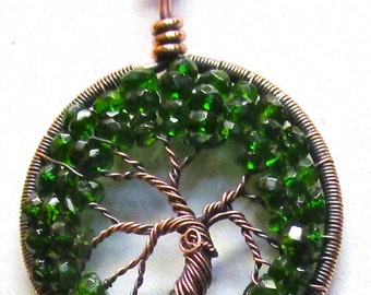 Tree of Life Emerald Tree of Life (Chrome Diopside) and Antiqued Copper, Emerald Jewelry, Emerald Necklace, Genuine Chrome Diopside