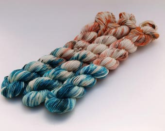 Variegated Minis, 20 Grams, 92 yards each, Work Horse Sock, Super Wash Merino Wool, Nylon, Slack Tide