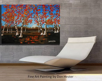 ORIGINAL  painting,  Aspen tree ORIGINAL painting, Birch tree palette knife  painting by HesterPainting 24x36