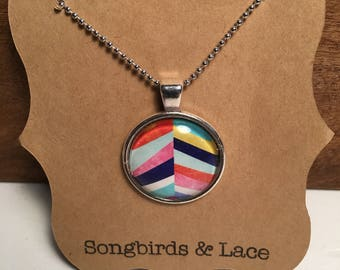 Multicolor Striped Pendant Necklace on silver setting- 25mm