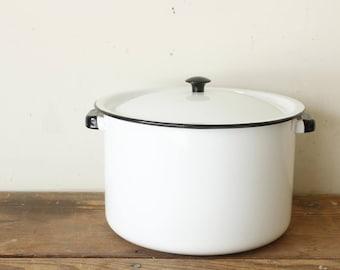 Rustic Vintage White Enamel Pot with Lid Black Rim Knob and Handles