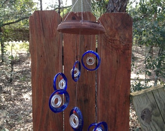 blue, clear, Glass Wind Chimes from RECYCLED bottles, eco friendly,  wind chime, garden decor, wind chimes,   musical, home decor, mobile
