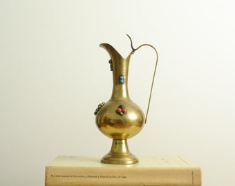brass jeweled urn vase pitcher vintage india