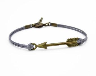Arrow Bracelet, Dark Gray Bracelet, Waxed Cord Bracelet, Antique Bronze Arrow Bracelet, Friendship Bracelet, Tribal Bracelet