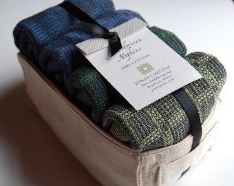 Handwoven Dinner Napkins- BlueGreen - Set of Four