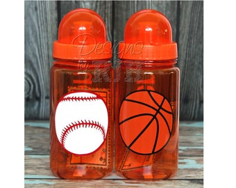Orange Personalized Kids Sports Water Bottle, Soccer Baseball