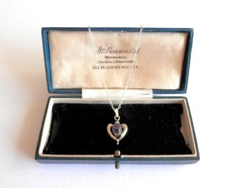 Vintage Heart Necklace, Sterling Silver & Amethyst Antique Pendant