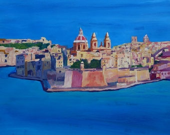 Malta Valletta View of City of Knights - Limited Edition Fine Art Print