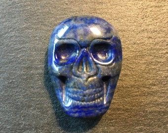 Lapis Lazuli carved skull cabochon - flat back cabochon - for making jewelry - FabbyDabby Stones Item #17-020903