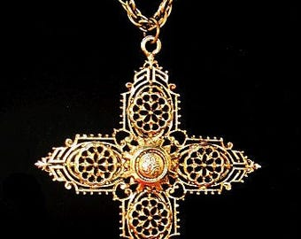 "Gold Cross Pendant Necklace Signed ART Religious BIG 20"" Vintage"