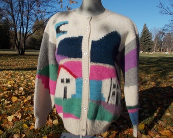 vintage home sweet home novelty sweater - 80s