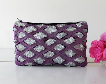 Silver sequin and lilac chiffon clutch,Modern  and glamorous.Bridesmaid clutch, weeding clutch. Pouch. Womens gift. Wife gift. Gift for her