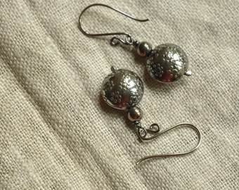 Sterling Silver Oxidized Blossom Earrings, unique, timeless, lovingly handmade