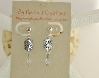 Straight Post Dangle Earrings, Etched Silver Beads, Crystal Beads, Simple,For Her